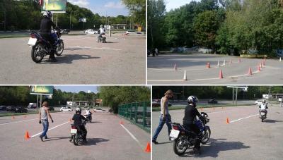 Практические обучения учеников вождению на мотоцикле